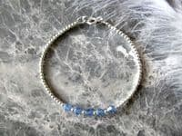 Dainty Sterling Silver Stacker Bracelet With Sapphire Blue Austrian Crystals | Silver Sensations
